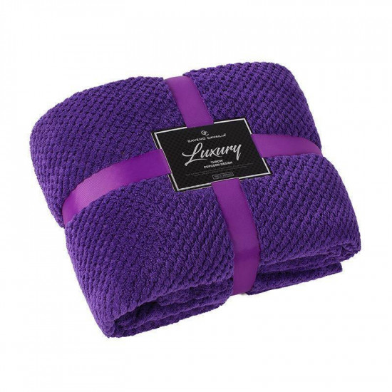 Luxury Throw POPCORN Purple 200x240