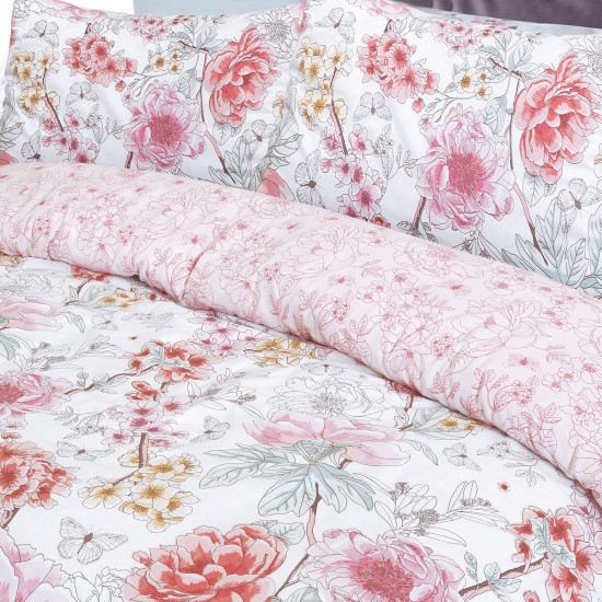 Double Duvet Set SKETCH FLORAL CORAL REVERSIBLE 200x200