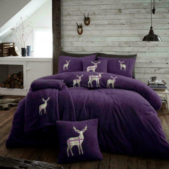 Double Microplush Comforter Set With Deer PURPLE 200x200