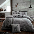 Double Microplush Comforter Set With Deer SILVER 200x200