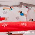 Teddy Fleece Reversible Double Bedding Set WINTER SAUSAGE DOG 200x200