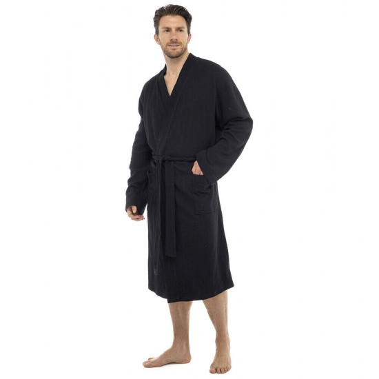 Mens Plain Colour Waffle Dressing Gown BLACK