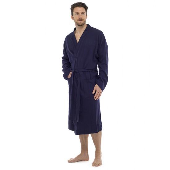Mens Plain Colour Waffle Dressing Gown NAVY