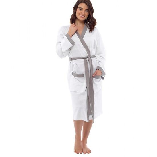 Womens Plain Colour Waffle Dressing Gown WHITE