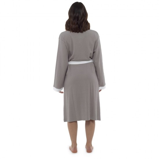 Womens Plain Colour Waffle Dressing Gown GREY