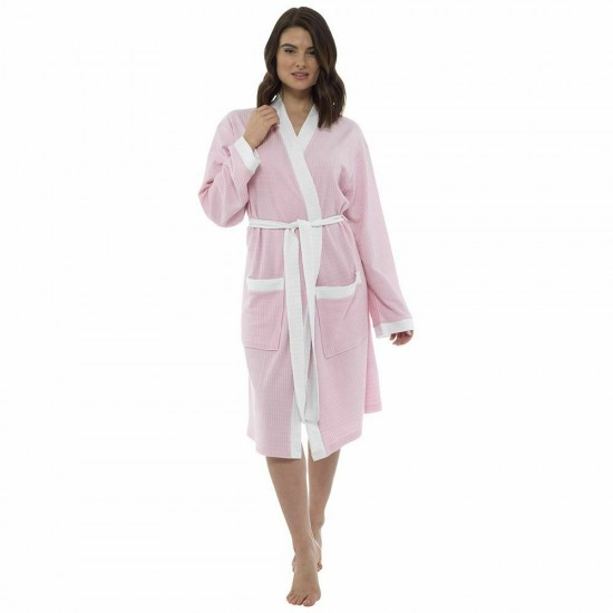 Womens Plain Colour Waffle Dressing Gown PINK