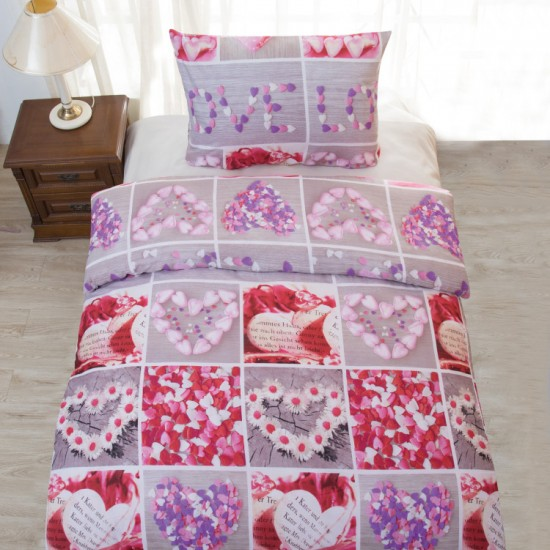 Saten bedding LOVE 140x200